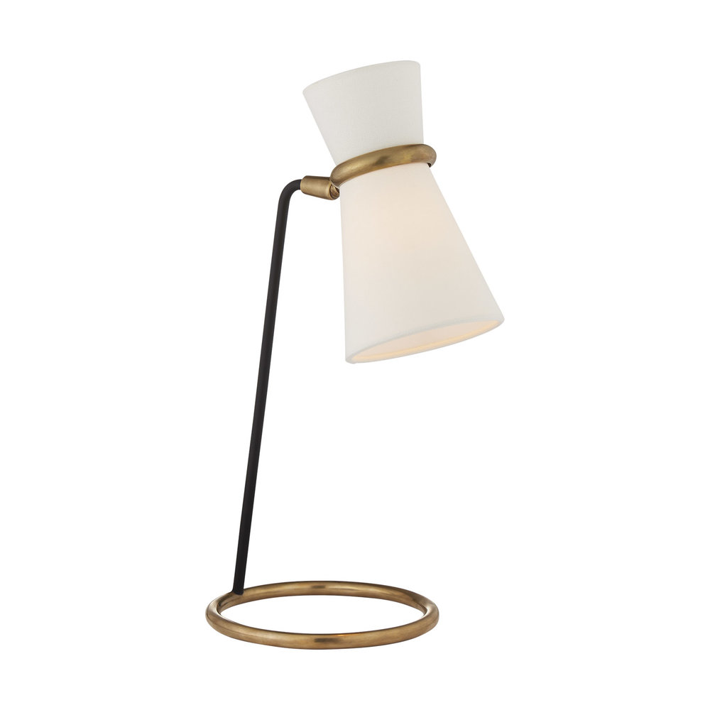 Clarkson Table Lamp in Hand-Rubbed Antique Brass and Black with Linen Shade.jpg