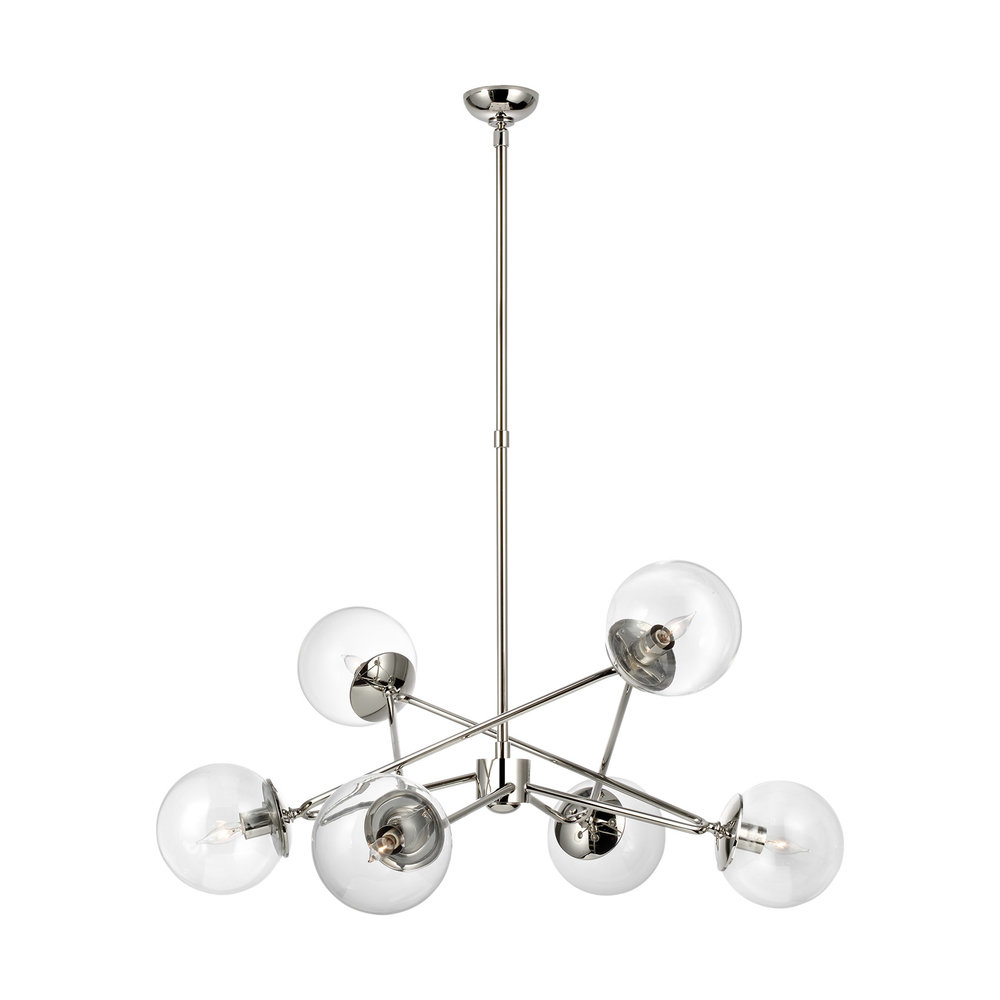 Turenne Large Dynamic Chandelier in Polished Nickel with Clear Glass.jpg