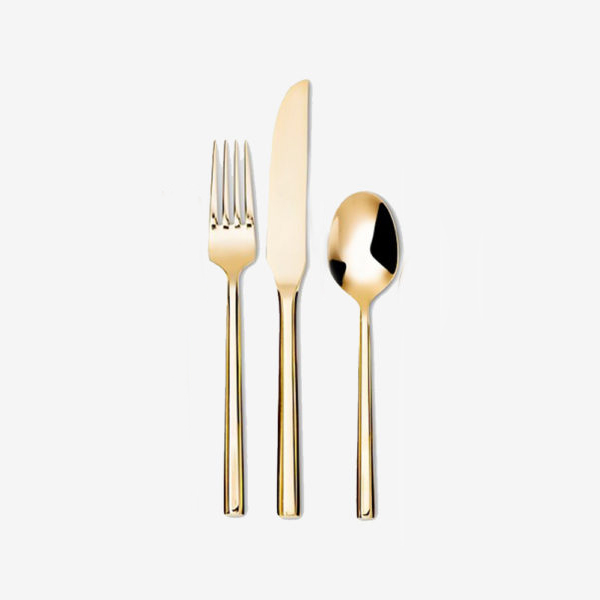 LOUISE BASIC SET |   POLISHED GOLD   Includes: Main fork, main knife and main spoon  IDR 35,000/per set