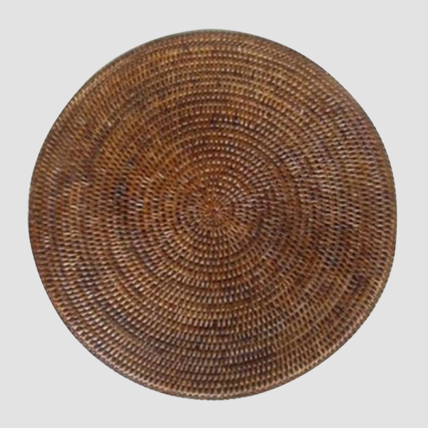 SERAYA | WALNUT  Hand-weaved rattan Size : Diam. 34 cm  IDR 7,500/per piece  Qty Available: 154 pcs