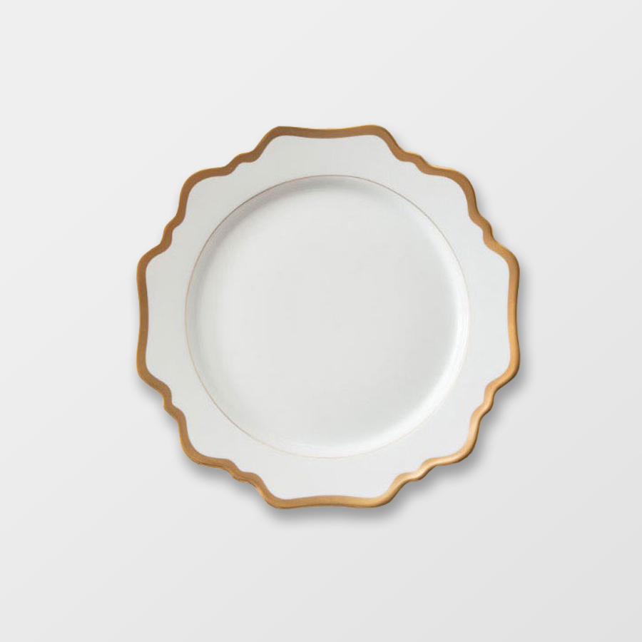 MARGOT SALAD | WHITE WITH GOLD RIM  Porcelain Size : Diam. 21.5 cm  IDR 28,000/per plate
