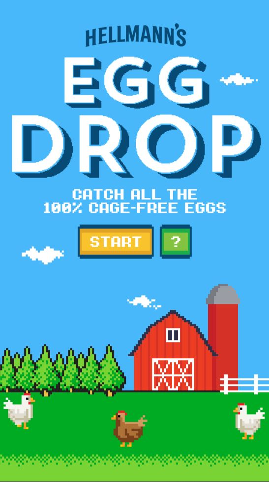 You can check out the game here   http://eggdrop.hellmanns.com/
