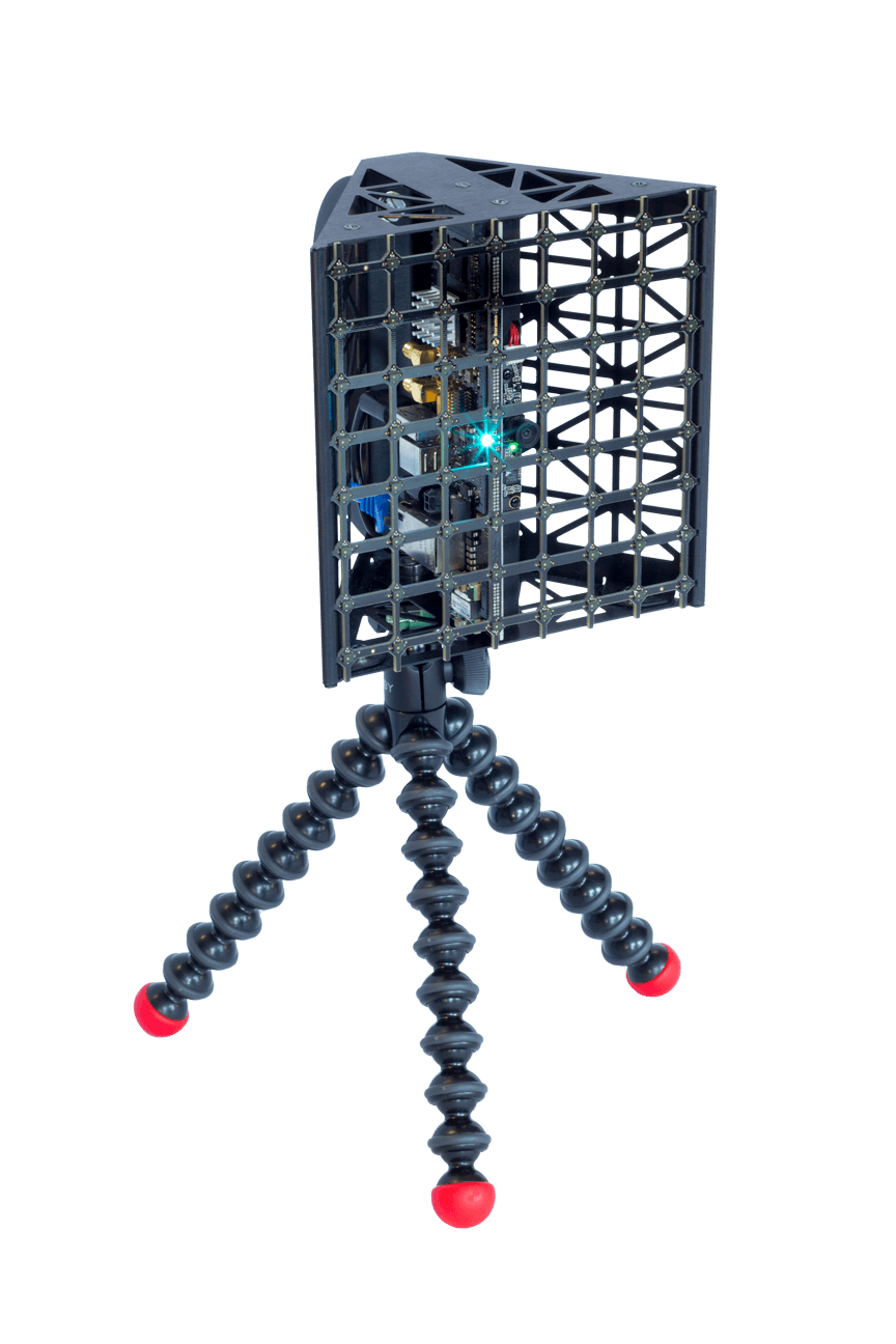 Handheld acoustic camera Sorama CAM64 microphone array of 64 microphones.