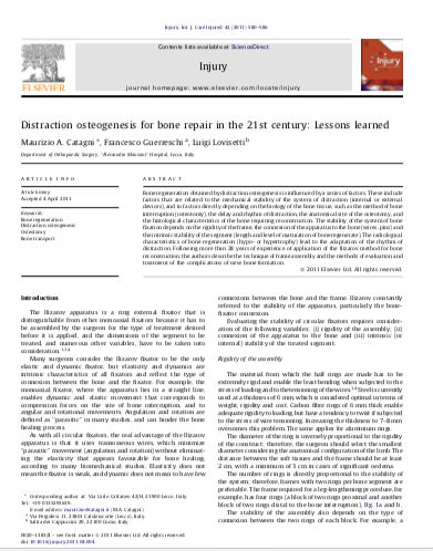 Distraction osteogenesis for bone repair in the 21st century: Lessons learned