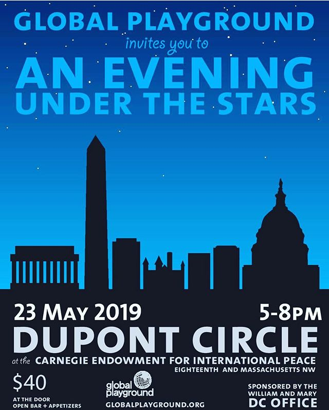 We are excited to announce Global Playground's twelfth annual Evening Under the Stars! ✨⭐️🌚 Join us in Washington D.C. on May 23rd from 5-8pm for our annual cocktail party to celebrate Global Playground's accomplishments as a community and propel future efforts to build! We invite you to purchase your ticket on GP's website; direct link below.  Your contribution directly supports Global Playground's efforts to expand educational opportunities for children in the developing world.  #GPforChange #BuildDreamsForward #EveningUndertheStars • • https://www.globalplayground.org/evening-under-the-stars/2019/5/23/evening-under-the-stars