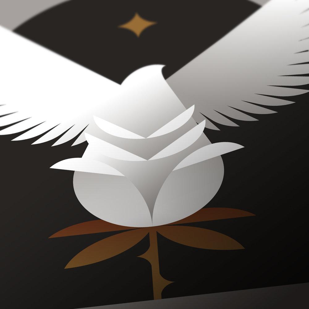 The Art of Magic Rose Dove Stamp Detail
