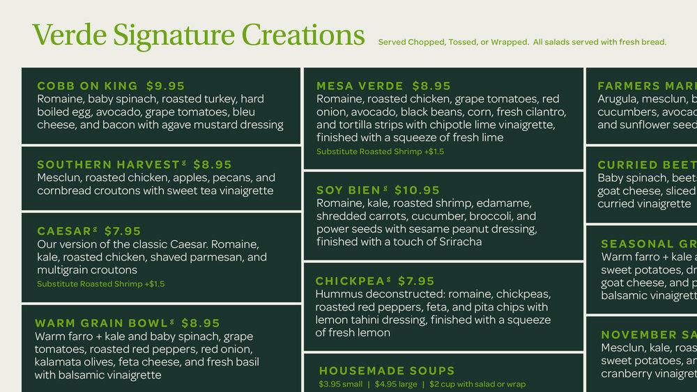 Verde Salad Restaurant Menu Board Typography