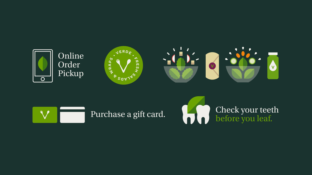 Verde Salad Restaurant Gift Card and Mobile Icons