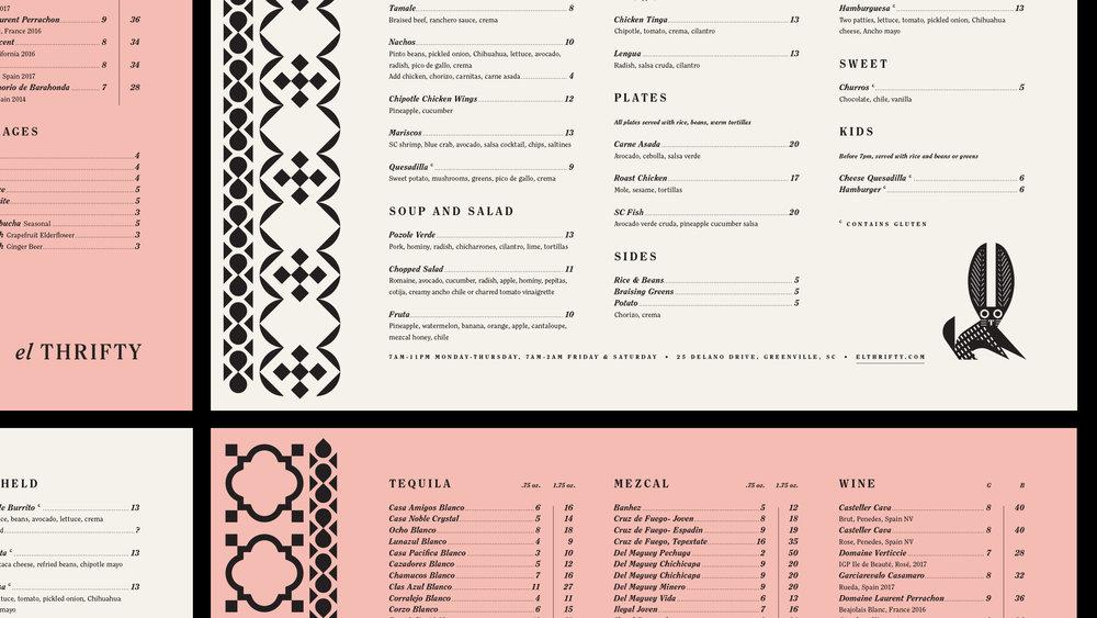 El Thrifty Restaurant Menu Design