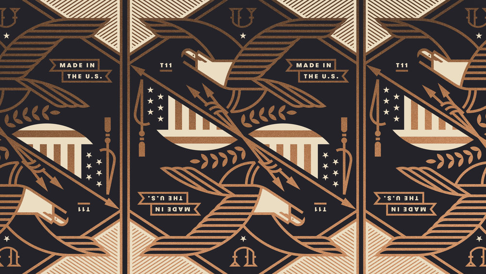Union Playing Card Eagle and US Flag Illustration
