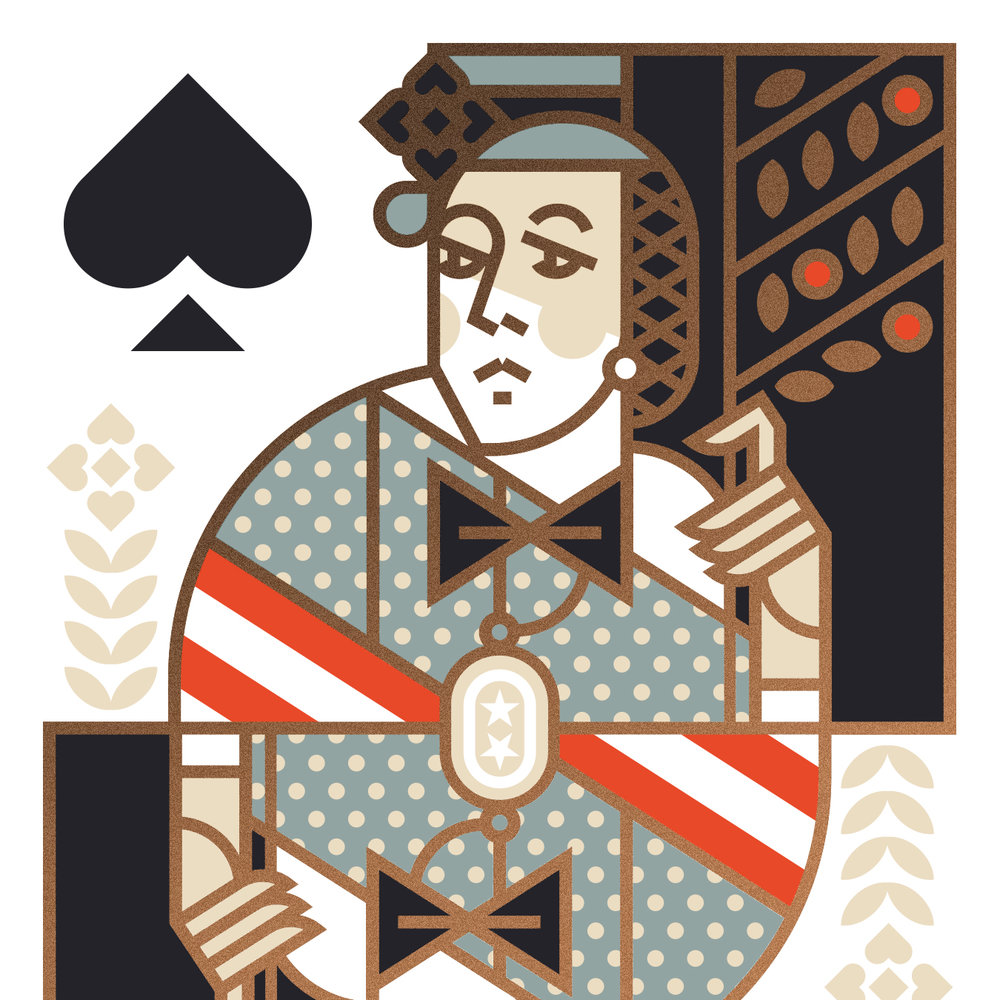 Union Playing Card Queen of Spades Illustration