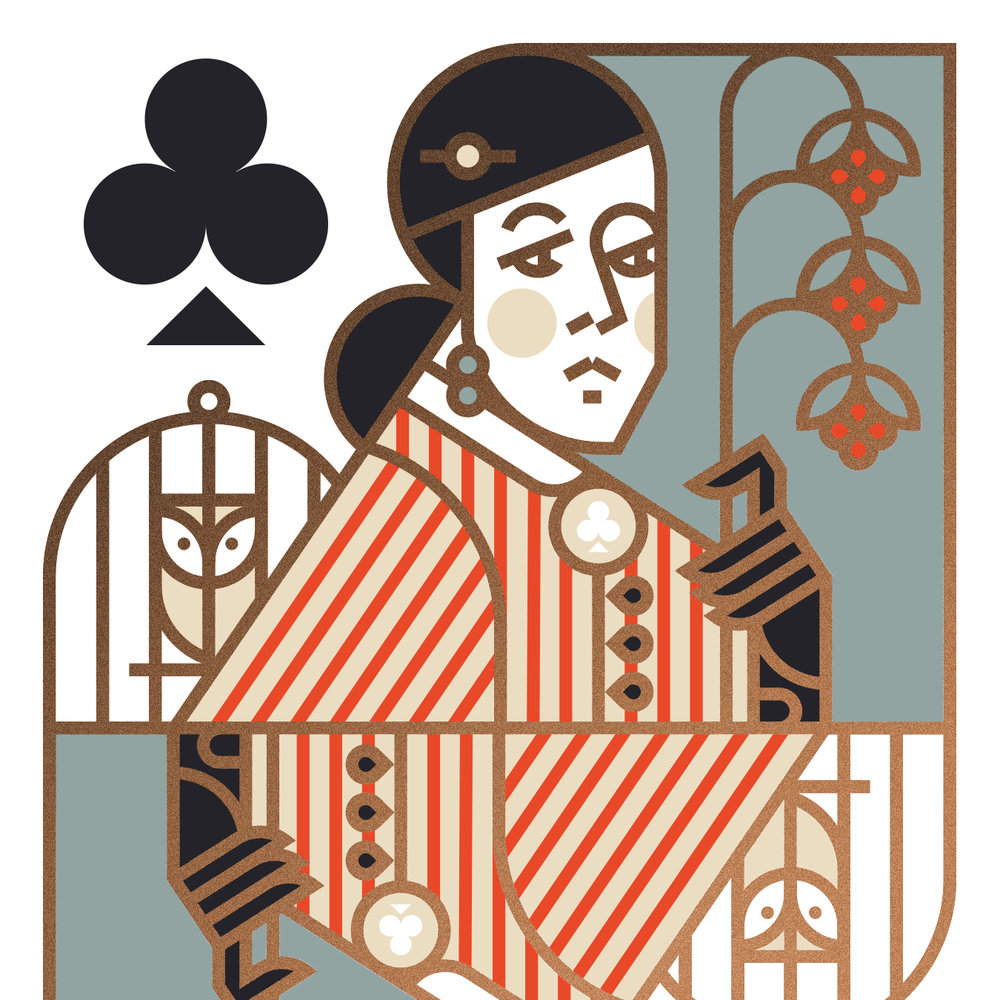 Union Playing Card Queen of Clubs Owl Illustration