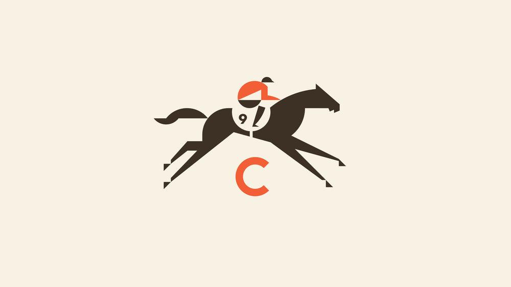 Calhoun's Bluffton Racehorse and Jockey Logo