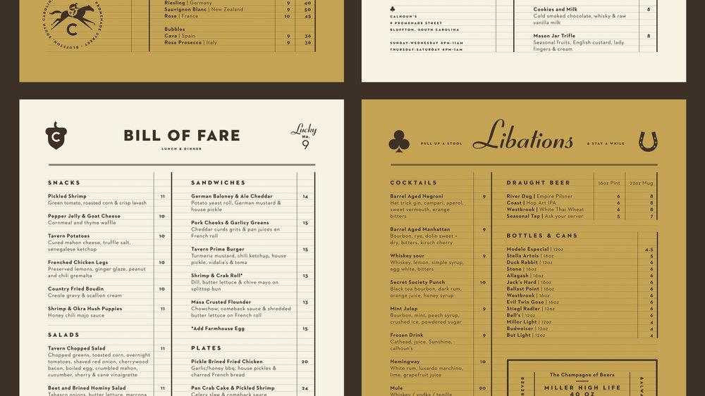 Calhoun's Bluffton Food, Cocktail and Beer Menus