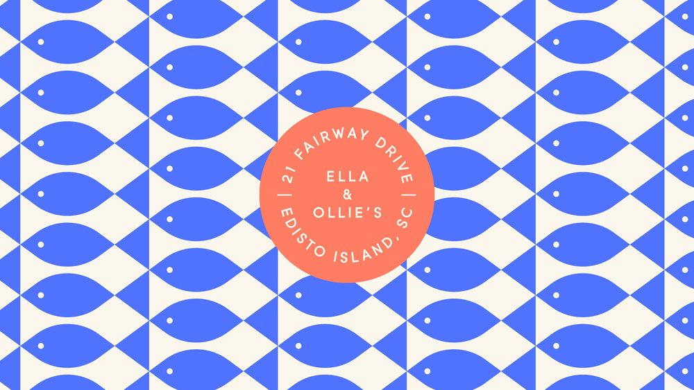 Ella & Ollie's Logo and Fish Pattern