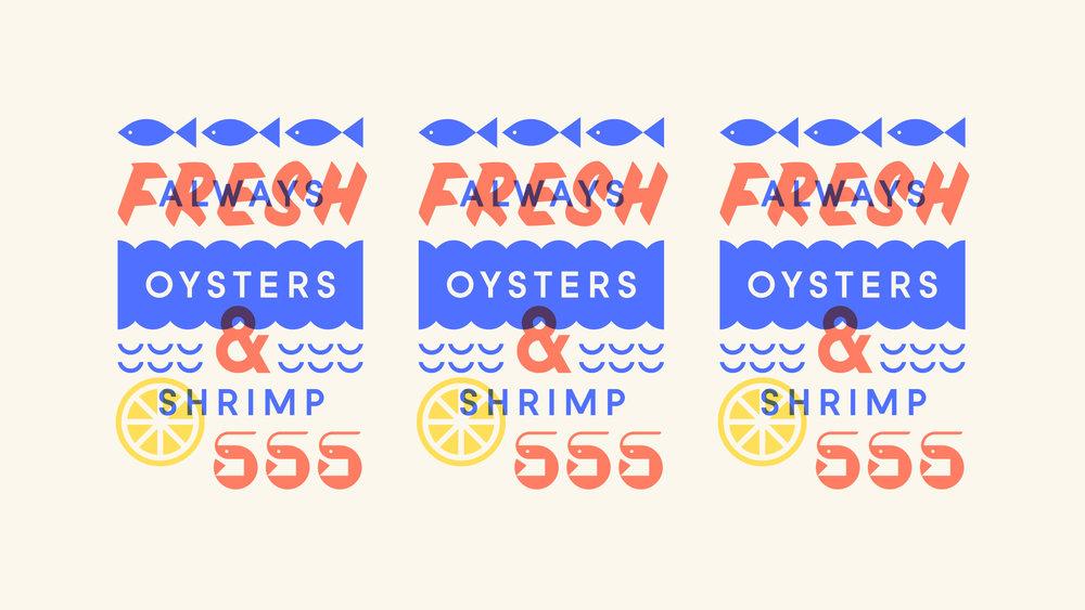 Ella & Ollie's Fresh Oysters and Shrimp Illustration