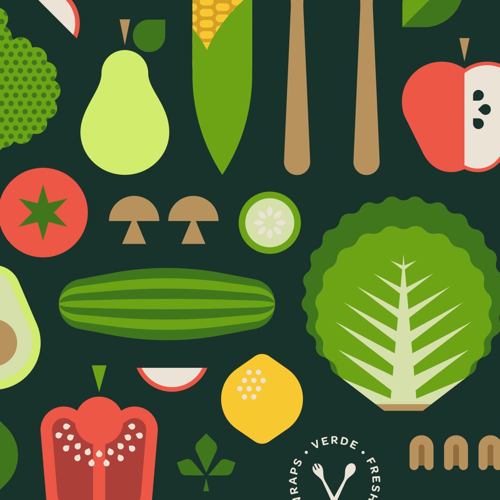 Verde Salad Restaurant Fruit & Vegetable Illustration Detail