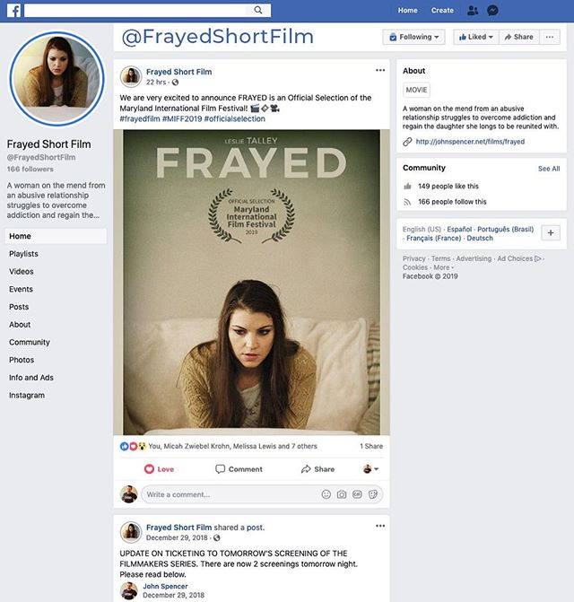 Hey! We have a Facebook page! Please like us there to follow us and get more BTS of the film and our Festival season in 2019! How to see you there!  Link in the description.
