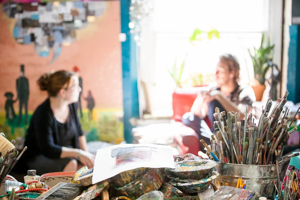 A view from the Creatives Class which meets in Kyle Ragsdale's studio, room 280