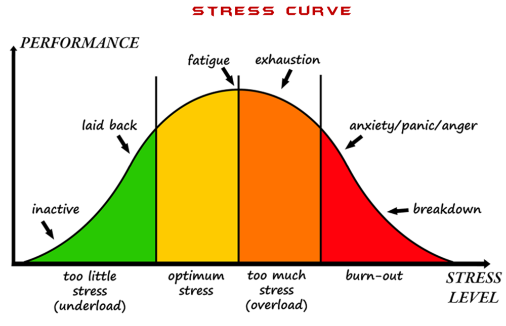 Try to find where your current stress level is on the diagram. If you are in red, now is a good time to seek some change.