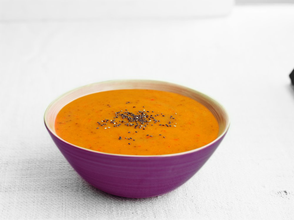 Sweet Potato & Chia Seed - A thick and creamy soup with a rich taste of sweet potato.