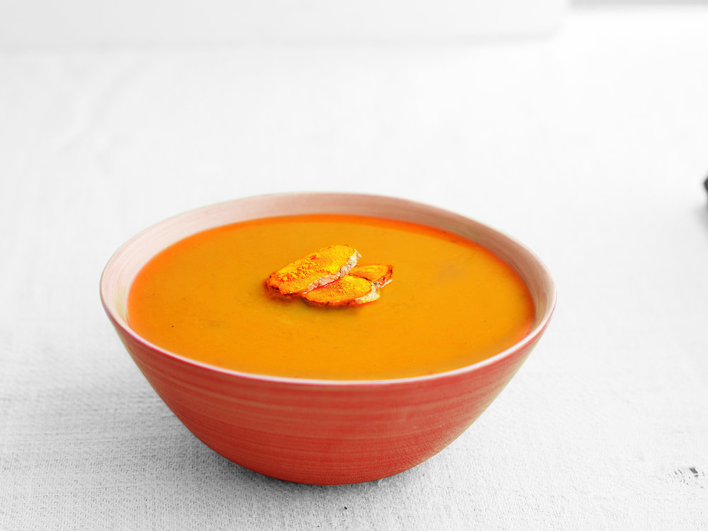 Butternut Squash, Sweet Potato & Turmeric Soup  - Low in salt but full of flavour.