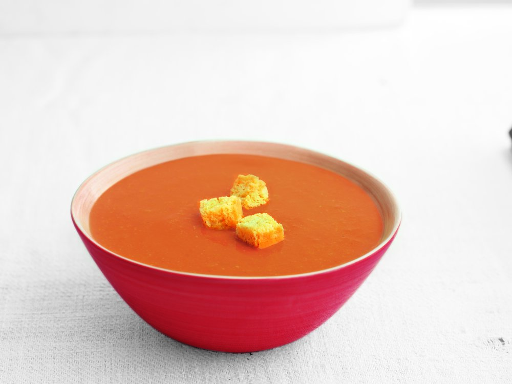 Tomato - Made with coconut cream, this low fat tomato soup is deliciously rich.