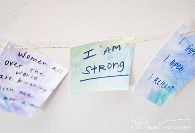 """I am strong."" Can you stop ✋ and repeat that yourself for a moment mama?⠀ ⠀ It is so easy amidst the negative self-talk that is so prevalent in our culture to begin to believe that as mamas we are less than capable of whatever it is we are striving for. But mama, let me tell you - if there is one thing that I have learned from witnessing 50 births over @brittfishstories, it is that women are capable of SO MUCH MORE than they realize.⠀ ⠀ So tell yourself ""I can"" today - because you are stronger than you know!⠀ ⠀ 💓 We love sharing birth affirmations, and love this image by @taviaredburn 💗⠀ ⠀ Do you have a favorite birth affirmation? Share in the comments! 💕⠀"