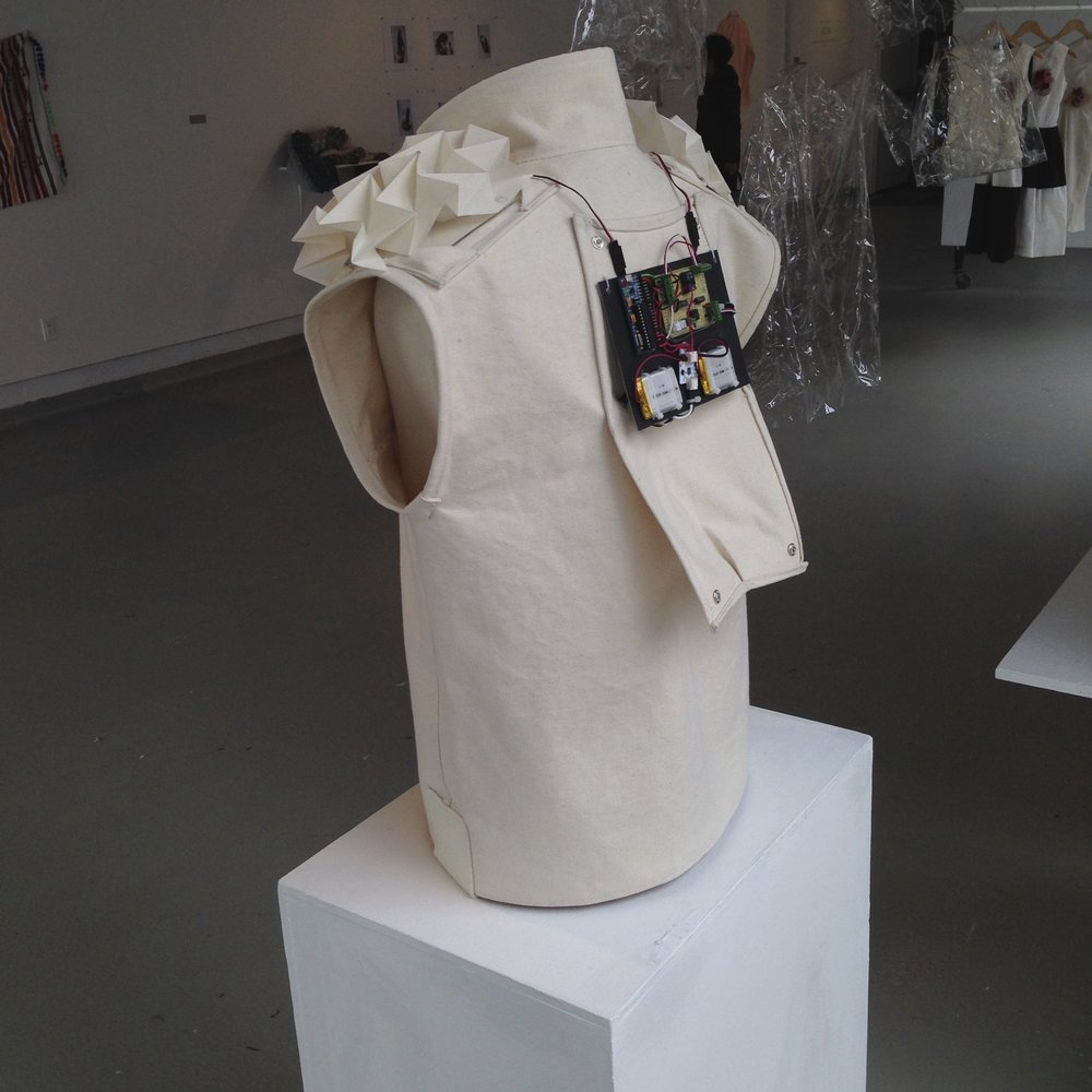 - The vest exposes a concealed layer of personal data. This information may extend the potential for others to form an empathetic connection with the wearer.