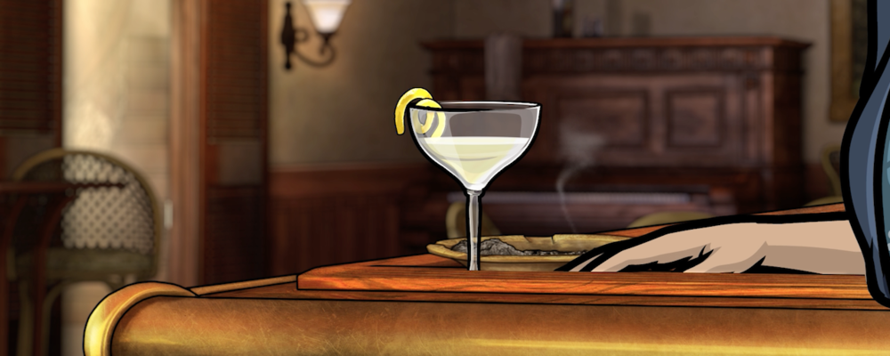 """Mallory sits at the corner of the bar, with a CIGARETTE and a morning COCKTAIL."" -"