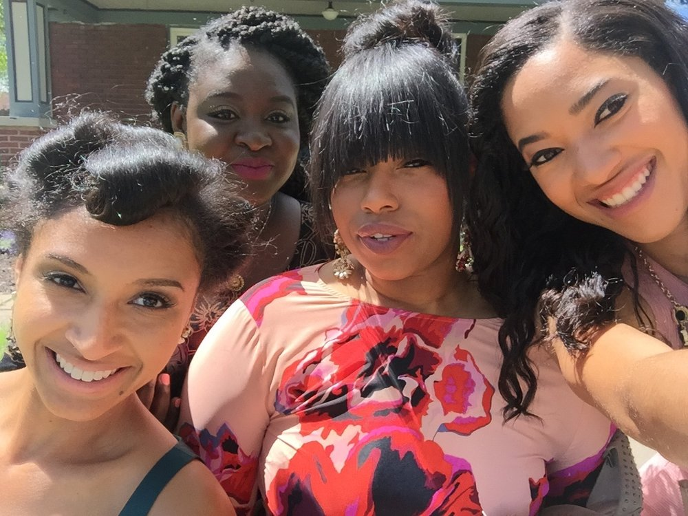 Left to right: Sorority sisters Lauren Floyd, Rama Secka, Holland Harmon and Sydnea Rutland pose for a photo outside of an Airbnb rental in Kansas City, Mo. The girls were in town for Jerusha Washington's wedding on April 30, 2016. LAUREN FLOYD / INFO@HONEYCOMBMOMS.COM