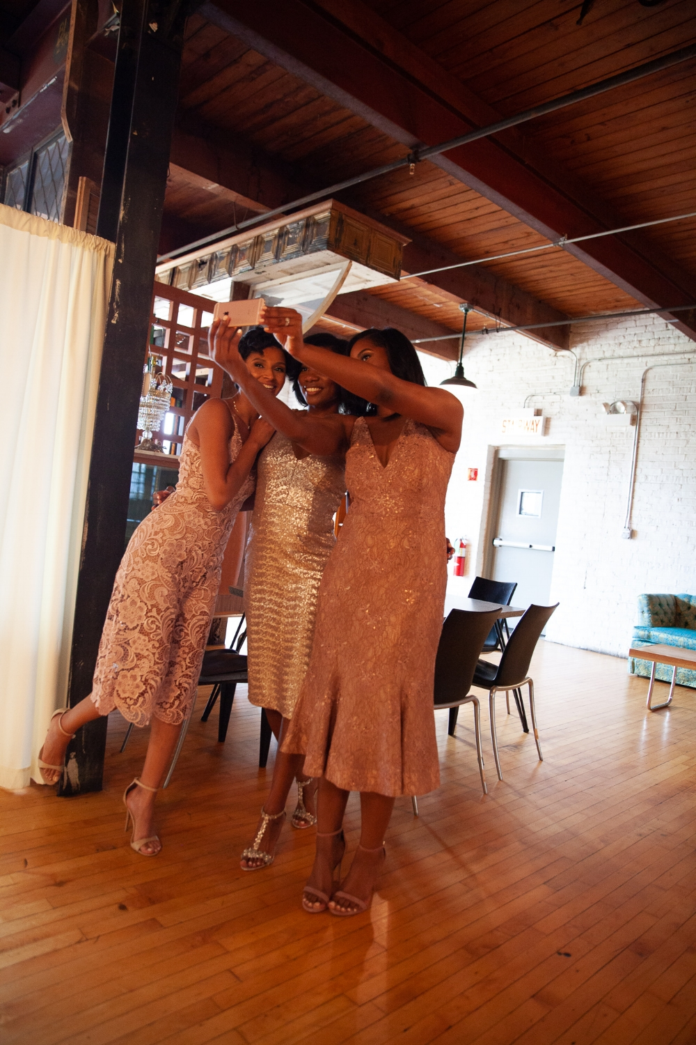 Refusing to lose myself in becoming a new mom | Honeycomb Moms |I'm having way too much fun with longtime friends Carletha Beavers and Charniese Miller. This was taken just before the festivities started at Nicole's wedding. BRADLEY MURRAY / bradley@square56.com