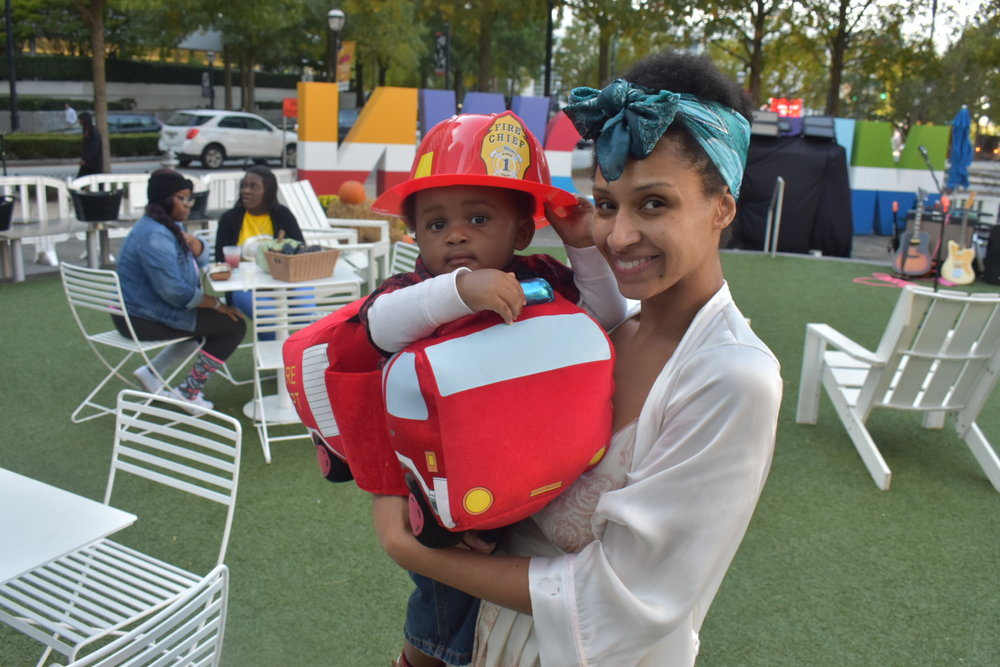 Baby's first Halloween comes a day early | Honeycomb Moms | My son, Donovan, was a fire chief, and I was his victim at Midtown Atlanta's Scare on the Square Tuesday. LAUREN FLOYD / INFO@HONEYCOMBMOMS.COM