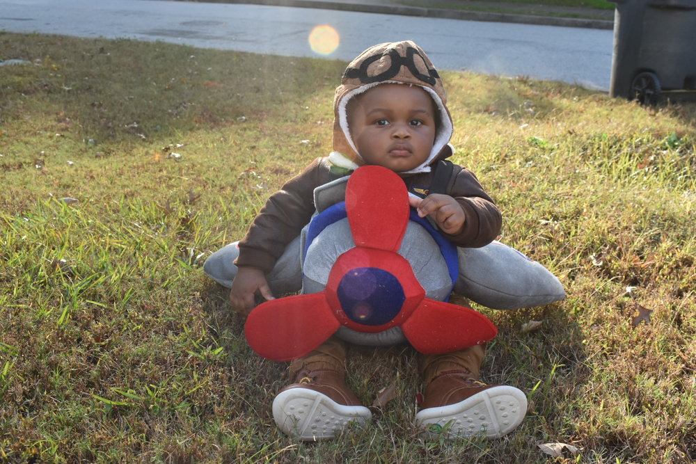 Donovan was a pilot of a single-engine plane on Halloween day Wednesday. He let me snap a few shots in front of our home and more at our church's Trunk or Treat event at the Riverside EpiCenter. LAUREN FLOYD / INFO@HONEYCOMBMOMS.COM