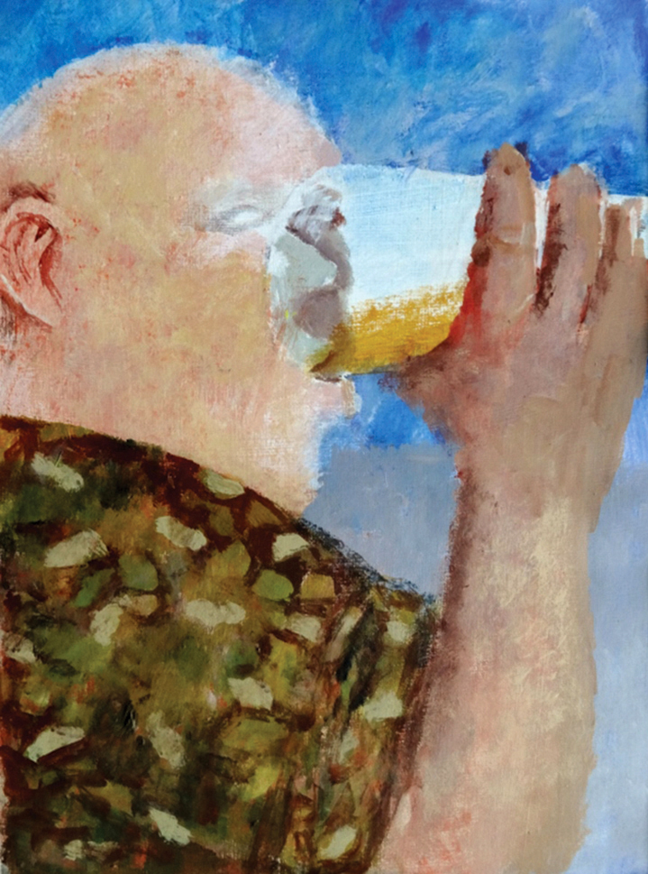 A Man's Drink , acrylic, 38x28cm