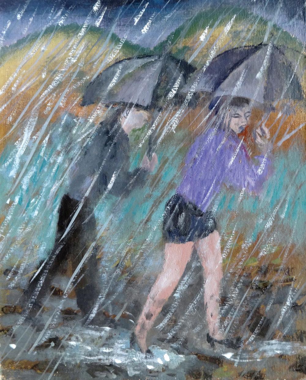 Umbrellas , oil, 30x26cm