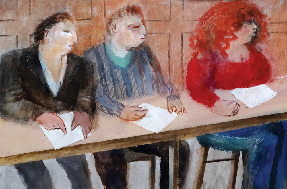A Meeting , watercolour, 36x53cm