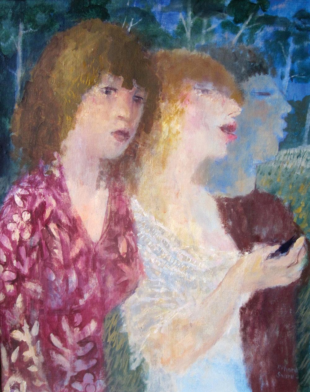 Three Girls Texting , oil, 61x46cm