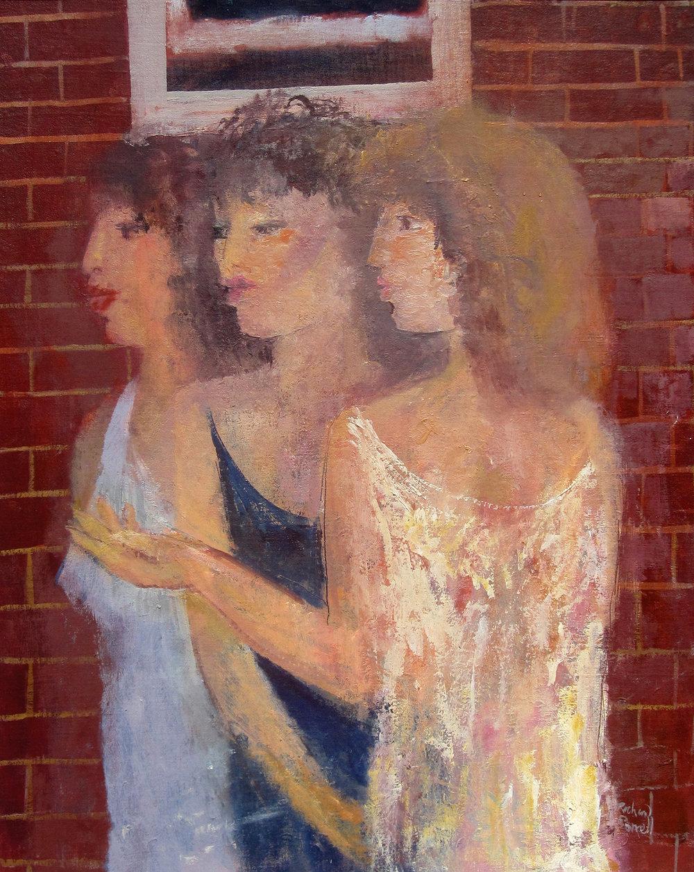 Three Girls by a Window , oil, 61x46cm