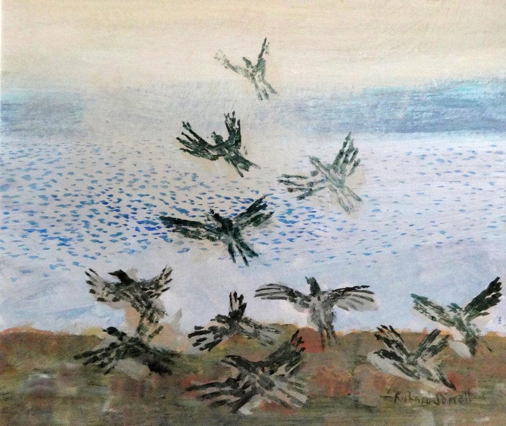 Birds Rising over a Lake , acrylic, 22x25cm