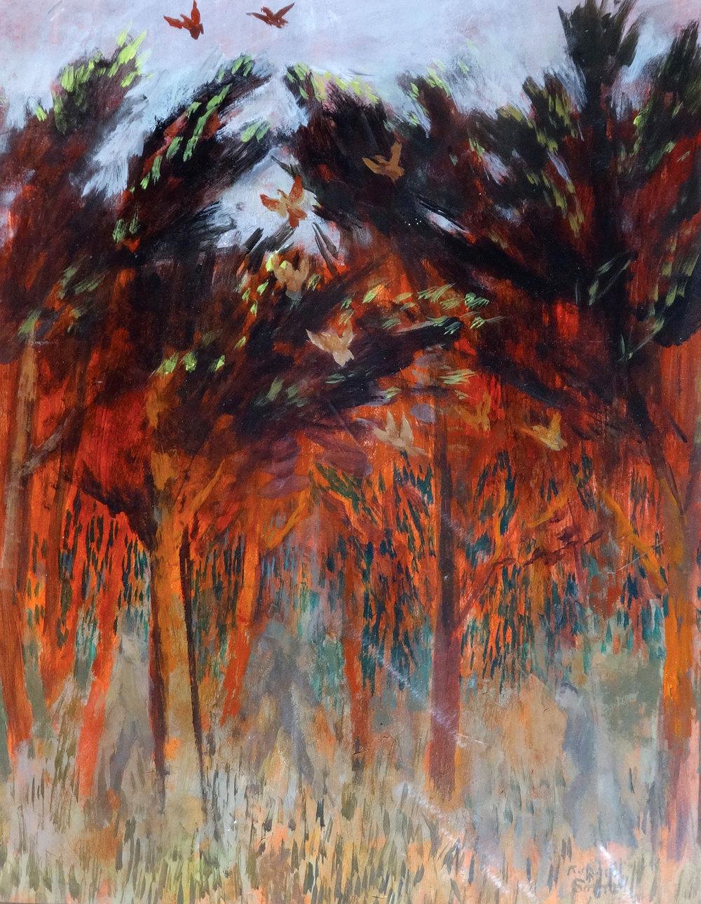 Through the Trees , acrylic, 46x61cm