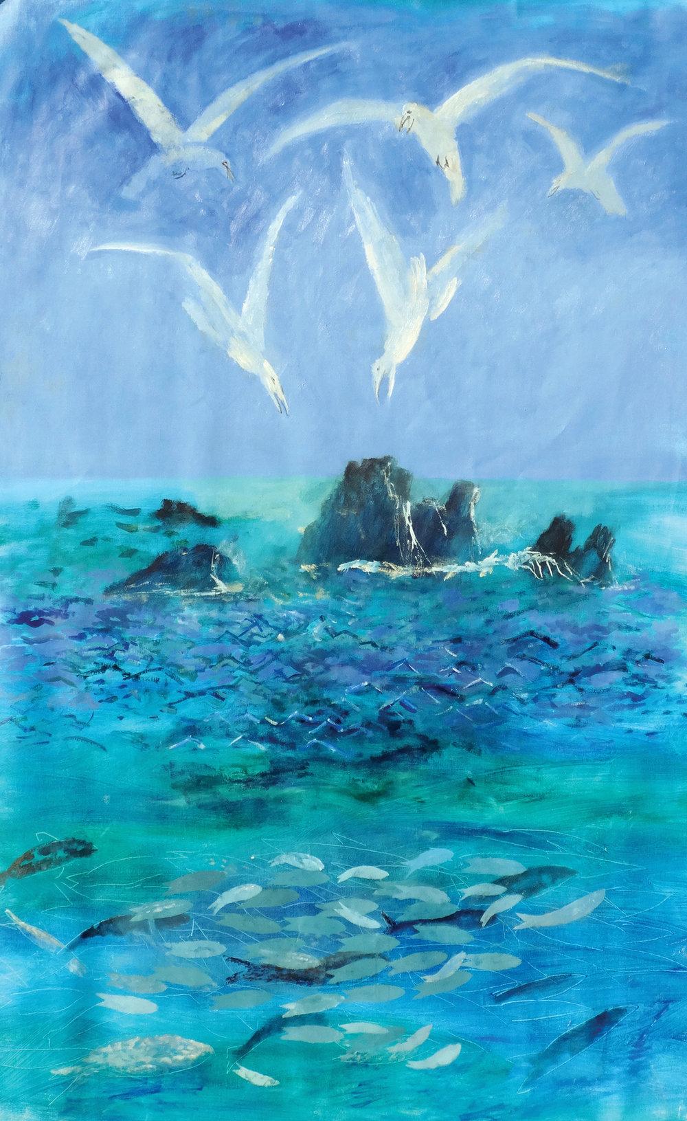 The Sea , oil, 225x120cm