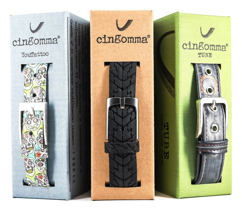 Belts - This is where it all started. Every Cingomma belt is a bicycle tyre transformed into a unique piece that is entirely hand made in Italy. You are not buying a belt, you are choosing a lifetime companion that knows no compromises between ethics, exceptional quality and beauty.See all the ranges available.