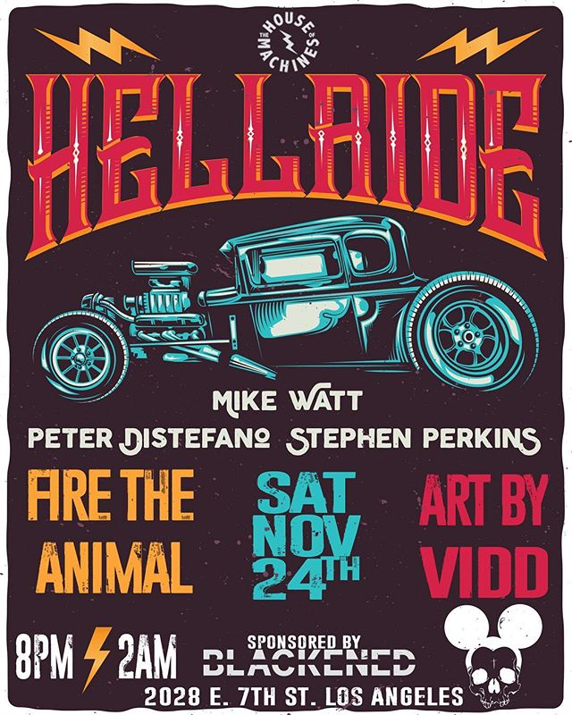 SATURDAY 11.24 - FTA will be performing at the GRAND OPENING of @thehouseofmachines_la!! Also performing will be HELLRIDE ft. members of Jane's Addiction, Minutemen and Porno for Pyros. Art by @viddthedesigner will also be on display! The event will be sponsored by @blackenedamericanwhiskey 🥃
