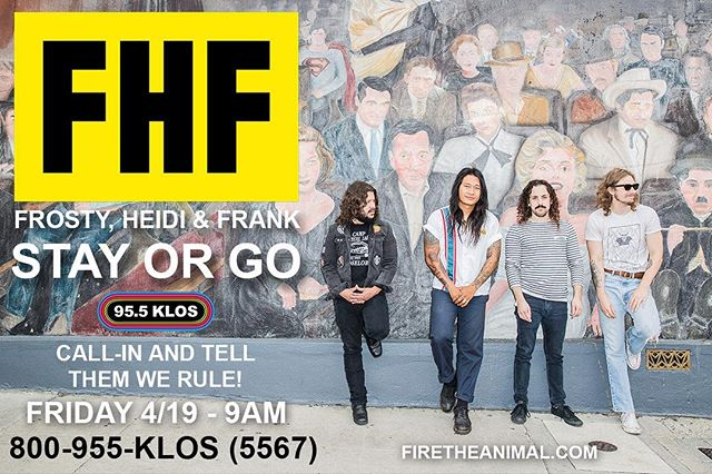 We're going to be on @klos955 this FRIDAY morning at 9am for an episode of Frosty, Heidi and Frank's STAY OR GO! Spread the word and call 1-800-955-KLOS (5567) to let them know that FTA is here to stay!!! @fhfshow