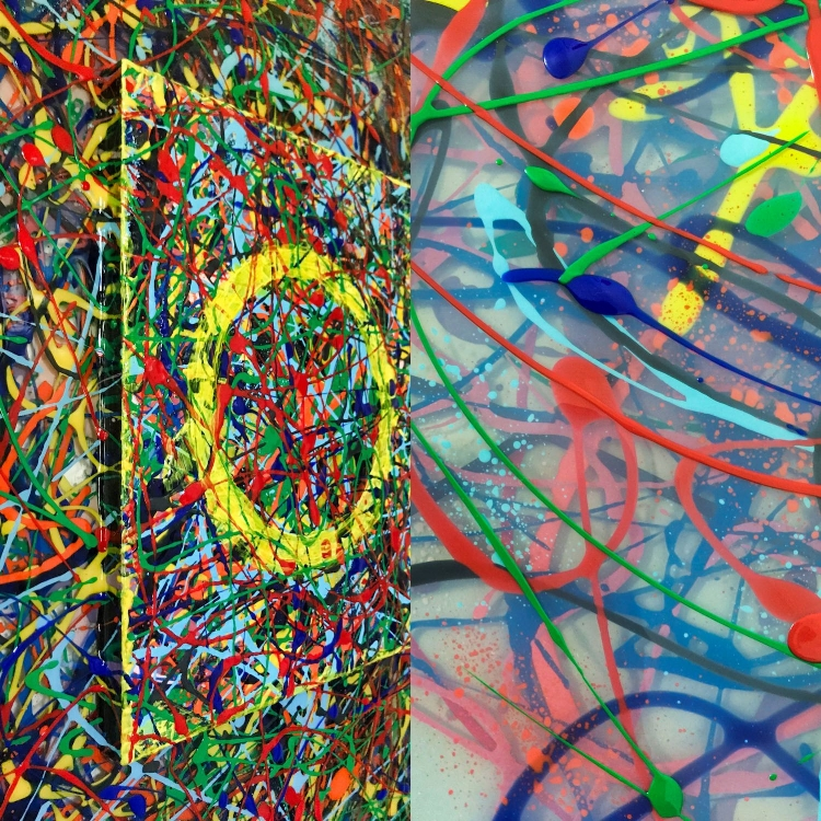 Closeup views of Circle of Confusion showing cradled board on layers of paint and ArtResin mounted on plexiglass.