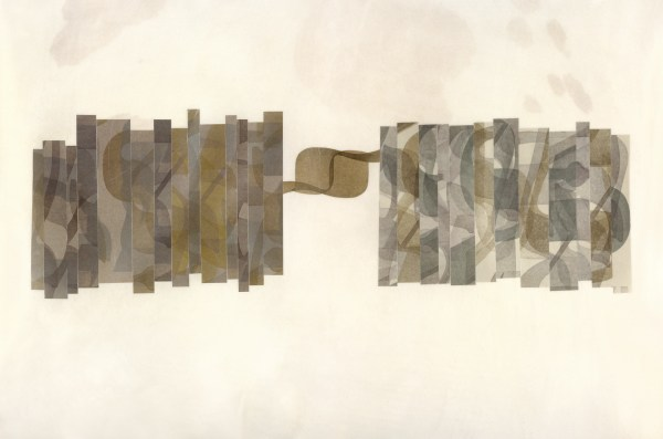 Relief printing, collage on parchment, 2015