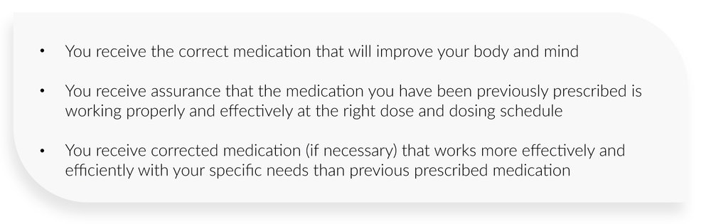 You receive the correct medication that will improve your body and mind  You receive assurance that the medication you have been previously prescribed is working properly and effectively at the right dose and dosing schedule  You receive corrected medication (if necessary) that works more effectively and efficiently with your specific needs than previous prescribed medication