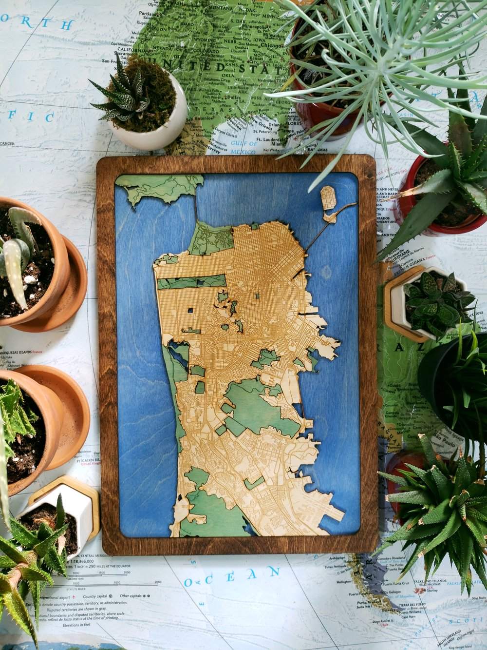 San Francisco Wooden Map