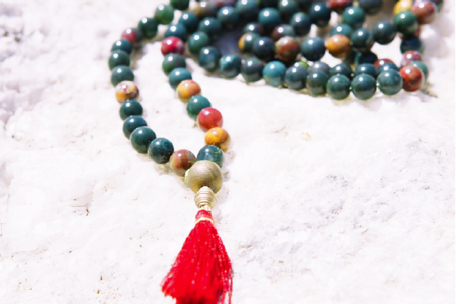 Bloodstone Mala Beads  108 Bloodstone Mala Beads on 36 inch Silk Cord with Gold Agate withRed Tassel: $195